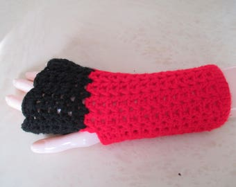 black and Red mittens for women
