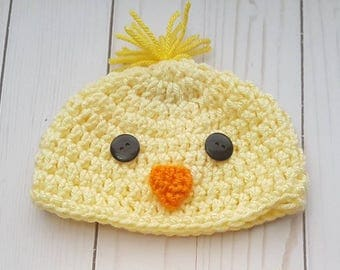First Easter Baby Chick Hat, Baby Boy Hat, Baby Girl Hat, Newborn Easter Hat, Baby Bird Hat, Baby Easter Gift, Photo Prop, Twin Easter