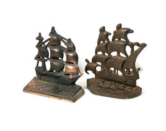 VINTAGE SHIP BOOKENDS Nautical Bookends Bronze Sailing Ship 1920s Office Decor Beach Coastal Sailing Pirate Antique Metal Bookends Gift