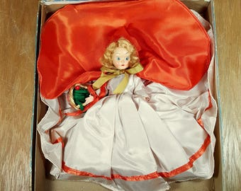 1950s DOLL Red Ridinghood Mid Century Doll Vintage Toy in Box Sears Storybook Doll Collectible Sleep Eye Doll Red Riding Hood Celluloid