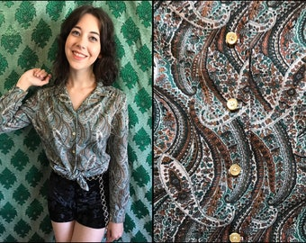 Early 80's Green/Brown Paisley Blouse