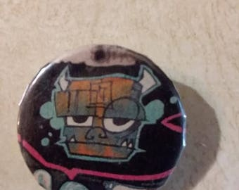 funky frankenstein pin//one inch pins//silly horror pins