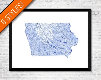 Iowa Map Etsy - Map of iowa