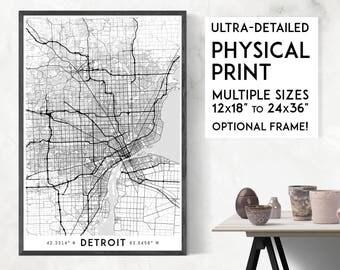 Detroit poster print, Physical Detroit map print, Detroit print, Michigan print, Detroit art, Detroit poster, Detroit wall art, Detroit gift