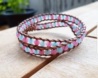 Leather Bracelet with Aventurine blue & pink