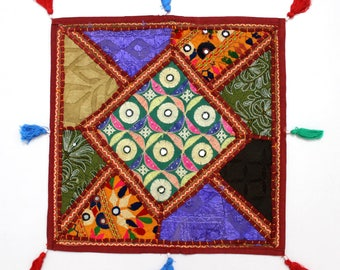 Handmade Hippie Gypsy Home Decor Ethnic Multi color Embroidered Hippy Patchwork Bohemian Pillow Shams Couch Cushion Cover Case G772