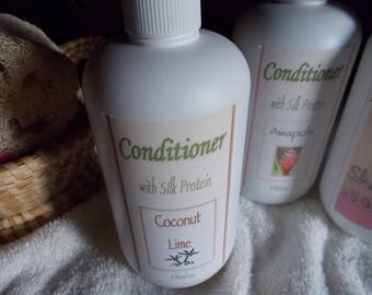 Hair Conditioner - Silk Protein, Aloe Vera, Panthenol - 12 oz, Daily, Handmade, Natural Hair Care - Normal Hair  - Choose Your Scent