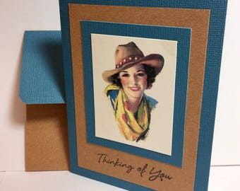 Cowgirl Card - Thinking of You Card - Western - Rodeo - Cowgirl Gift - Handmade Card