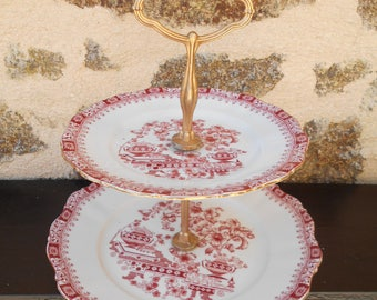 Beautiful Vintage 2 tier Porcelain Cake Stand