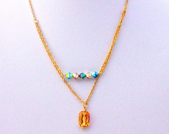Wedding necklace gold plated cabochon and Swarovski crystals on chain