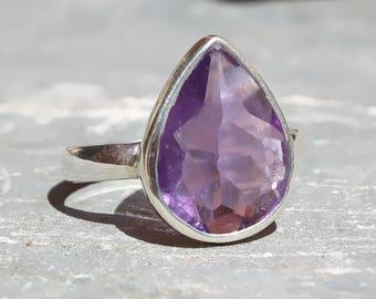 Amethyst drop ring,genuine amethyst ring, valentine ring, gift for her, 925 silver ring,minimalist jewelry,handmade purple ring,ETR1042