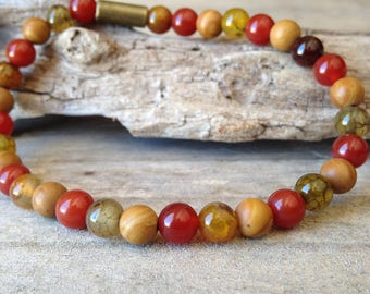 Natural carnelian/Agate/wood lace stone bracelet