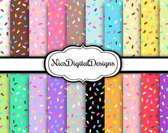 Buy 2 Get 1 Free-20 Digital Papers. Sprinkles in Pretty Colours (1 no 1) for Personal Use and Small Commercial Use Scrapbooking