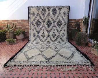 beni ourain ivory vintage 100% wool  rug moroccan berber great texture