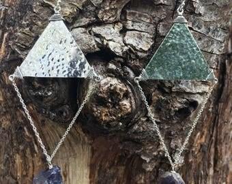 Chandelier earrings, silver earrings, earrings with stone, handmade earrings, statement earrings, long earrings