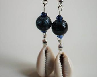 Handmade Cowrie shell drop Earrings
