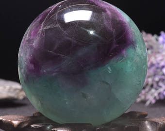 "2.6""Beautiful Rainbow Tats Flower Fluorite Sphere/Purple Green Fluorite Ball/Colorful Rocks/Healing Stone/Calming/Reiki/Chakra/Zen-66mm 480g"