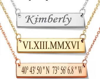 Bar Necklace Personalized Name Plate Necklace, Gold Name Bar Necklace, PERFECT BAR Necklace, Famous Bar Necklace, Gift for Her