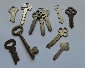 Vintage Key Collection Skeleton Keys Old Flat Keys 11 Total