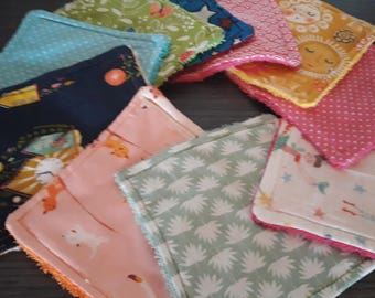 10 washable, reusable wipes with different fabrics