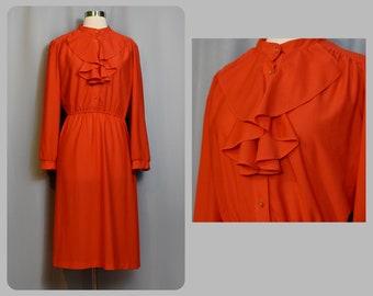 Lipstick Red 70s Dress with Ruffled Neckline