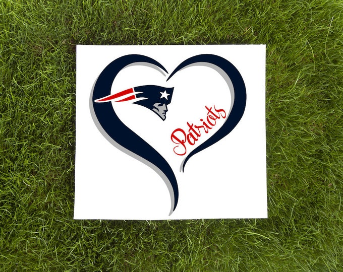New England Patriots Double Heart Vinyl Decal-Love Vinyl Decal-Car Decal-Tumbler Vinyl Decal