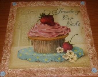 Decoupage square kitchen vintage Cupcake