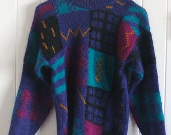 90's, colourful, patterned, sweater, jumper