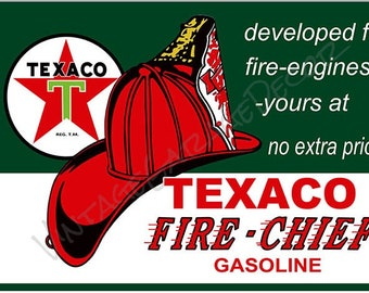 Reproduction Texaco Fire Chief Gasoline - w/ Hat Advertising Metal Sign