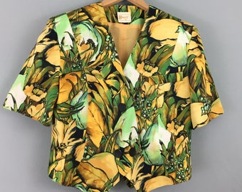 Vintage 1980s BARUCCI yellow green tropical cropped jacket UK 10/12 short sleeves