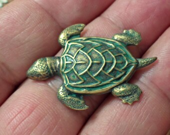 Vintage one patina Brass Stamping TURTLE Jewelry Findings. /U20
