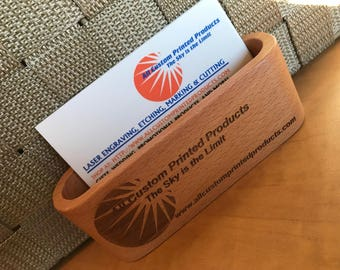 Beechwood or Walnut Wood Desktop Business Card Holder Custom Engraved Personalized
