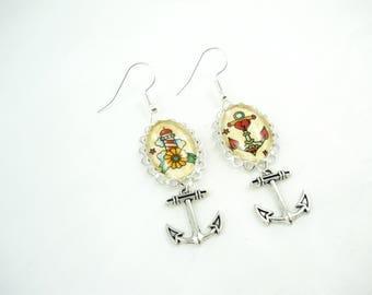Retro tattoo pin up rockabilly earrings
