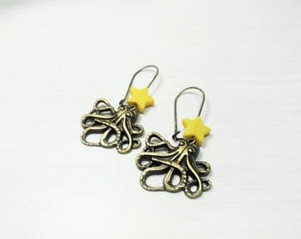 Steampunk - Octopus squid earrings