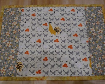 Placemats,Handmade Placemats,Set of 4 Placemats,Chicken Placemats,Quilted Placemats,Gray Placemats,Rectangle Placemats, Kitchen Placemats
