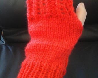 Wool red lace mitten