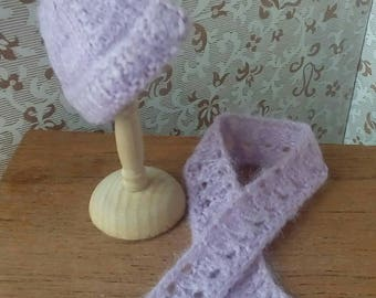 1/12th scale lilac matching hand knitted hat and scarf