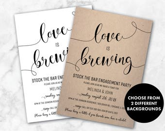Stock the Bar Invite | Love is Brewing Engagement Invitation | Shabby Chic Engagement Party Invites | Stock the Bar Party | Raise a Toast