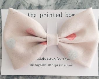 Pink Spotted Big Bow Clip