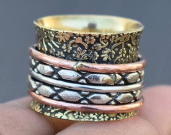 5 Spinner rings band | Tribal fusion spinning ring | Flower Design Ring | Wedding wear ethnic jewelry | Everyday yoga meditation ring | R232