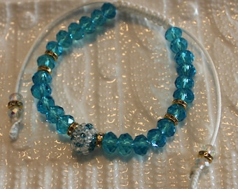 Cute Aqua Crystal-beaded bracelet, handmade, shamballa, beadweaving, beautiful, casual-wear, party-wear