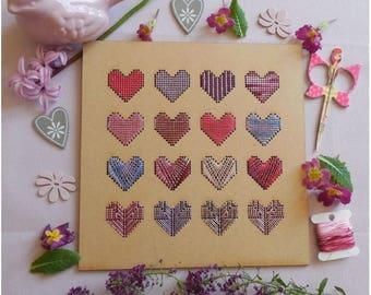 Plate 16 hearts wood 20 x 20 cm hoop