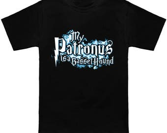 My PATRONUS Is A BASSET HOUND Custom T-Shirt Magic Animal Charm Fantastic Beasts Wizard Spell Fantasy Shirt