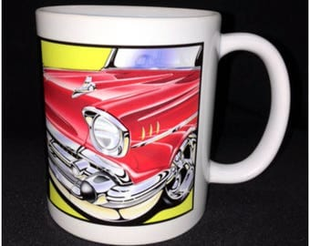 57 Chevy Coffee Mug, 57 Bel Air, Custom Car Coffee Mug, Rocket Radial, Chrome Bumper