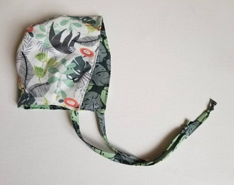 Jungle bonnet•6-12 M•baby bonnet•summer hat•spring baby•girl•prop•accessory•green•cotton•spring•summer•reversible•boy•gender neutral•fall