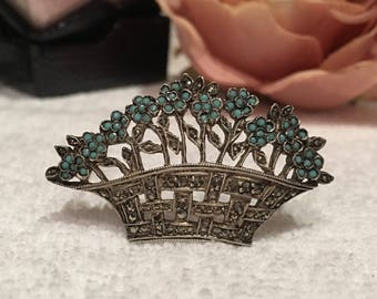 Magnificent Vintage Art Deco 1940's Solid Silver-TURQUOISE & MARCASITE Brooch/Pin-A Beautiful Basket of FLOWERS-Solid Silver-Stamped 800