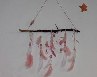 dream catcher, dreamcatcher, dream catcher, pink/white, feathers, wall decor, children's room