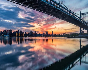 "New York City, NYC Photography, Triborough Bridge, Astoria Waterfront, Water Scene, Urban, Large Wall Print, Fine Art - ""Triborough Sunset"""