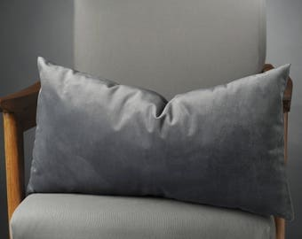 Gray silk Velvet Pillow Euro sham 26x26 Pillow cover 22x22 20x26 20x36 28x28 Gray Silk Velvet Pillow Cover Pillow case for sofa 14x36 12x22