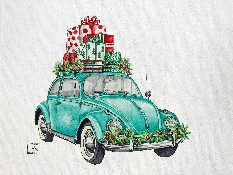 christmas vw bug art print christmas holiday watercolor Bug Clip Art free cute bug clipart